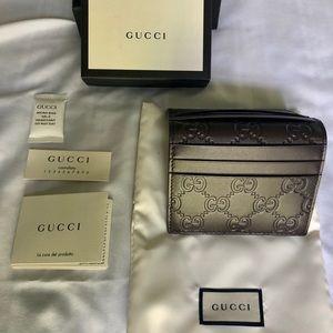Gucci Signature Card Wallet (Dark Brown
